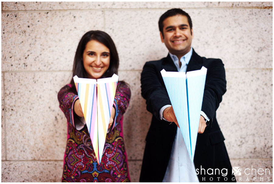 Boston Public Library engagement photos with paper airplanes