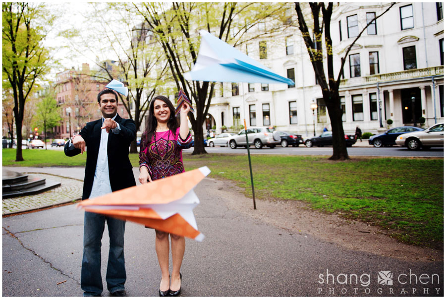 Boston engagement photos with paper airplanes