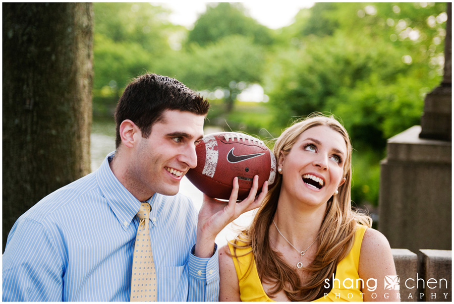 Boston engagement photos with a football