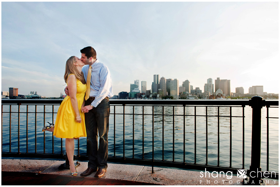 Engagement photos with Boston skyline