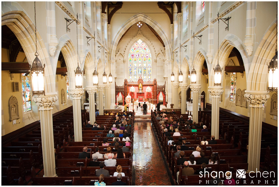 wedding ceremony at St. Mary's of Newport
