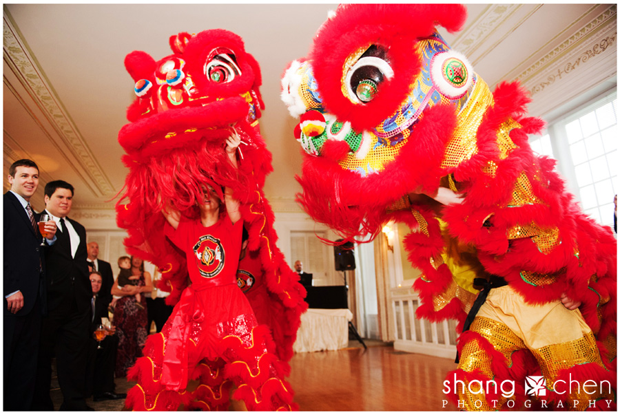 Boston wedding photography with lion dancers