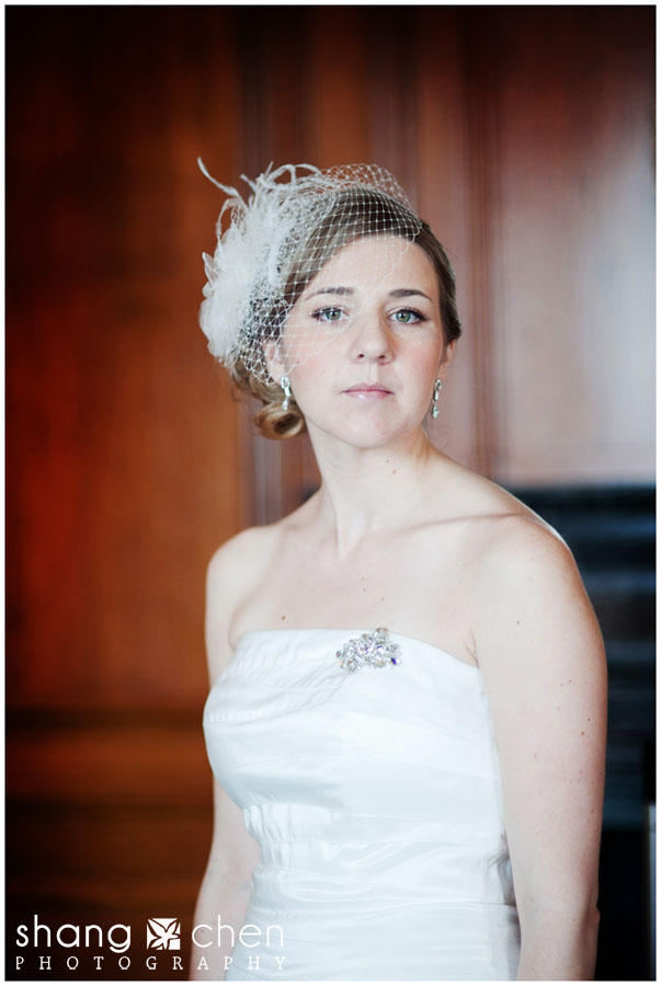 Boston wedding photography, bride with birdcage veil