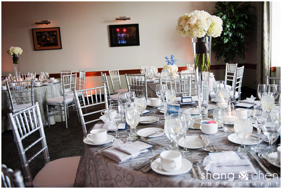 Boston wedding with white and navy blue wedding colors, chiavari chairs