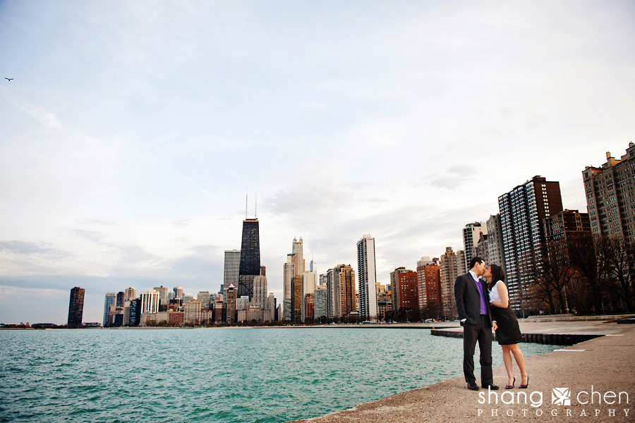 Downtown Chicago Skyline Engagement Session 187 Saavedra